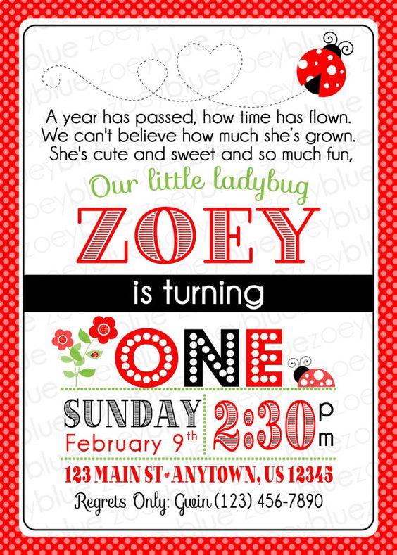 Ladybug Birthday Invitation 1st Birthday by ZoeyBlueDesigns