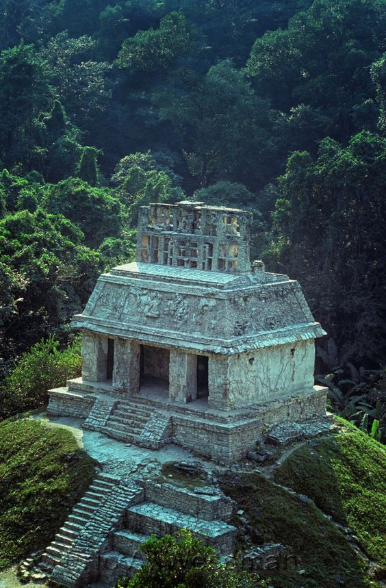 Temple of the Sun, from Temple of the Cross, Ruins at Palenque. Chiapas, Mexico.