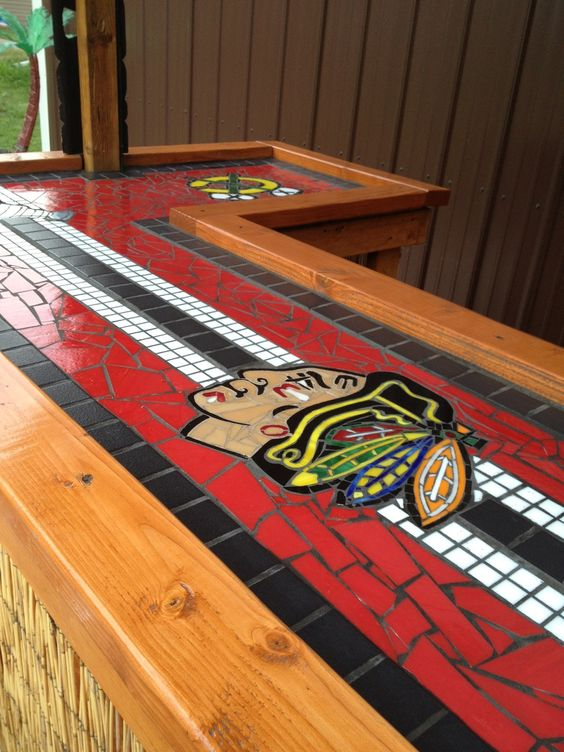 View of the length of the bar top chicago blackhawks for Chicago blackhawk bedroom ideas