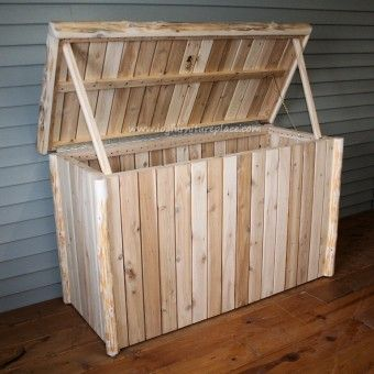 Outdoor Cedar Log Pool Storage Chest Outdoor Patio Log Furniture Log Wood Furniture