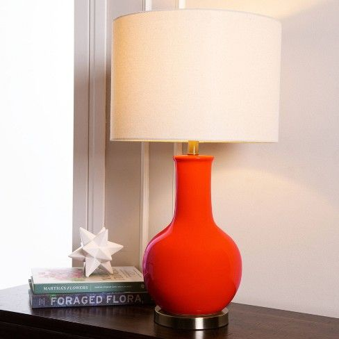 Maybury Ceramic Table Lamp Red Lamp Only Abbyson Living