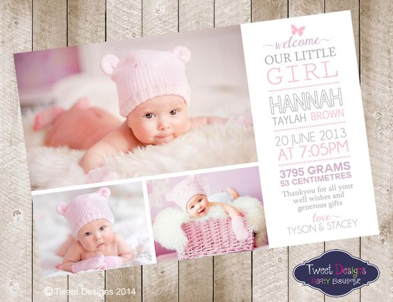 BIRTH ANNOUNCEMENT Girl, Printable BABY Thank you Card, Collage ...