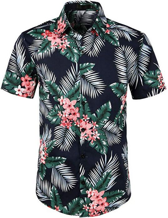 Chic Men Blouses Button Front Short Sleeve Tiger Printing Summer Stylish T-shirt