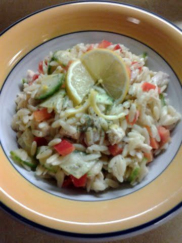 Healthy protein salad: Lemon Orzo Veggie Salad With Chicken 1 tbsp olive oil 3 tbsp lemon juice 1/2 tsp honey 2 tbsp red wine vinegar 1/2 tsp salt & pepper 1 cup cooked diced chicken 3/4 cup cooked, drained and cooled orzo 1/2 cup diced english cucumber 1/2 cup diced red bell pepper 1/2 tsp lemon zest 1 tbsp fresh dill #Recipes #food #eat #smothie #eating #cooking #snacks #meal #dinner #shake #dessert