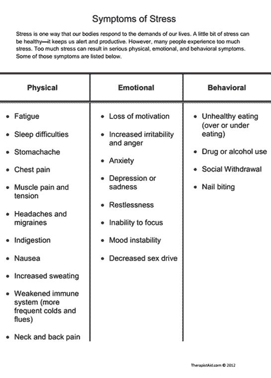Symptoms of Stress Preview Educate clients about stress with this list of physical, emotional, and behavioral symptoms.