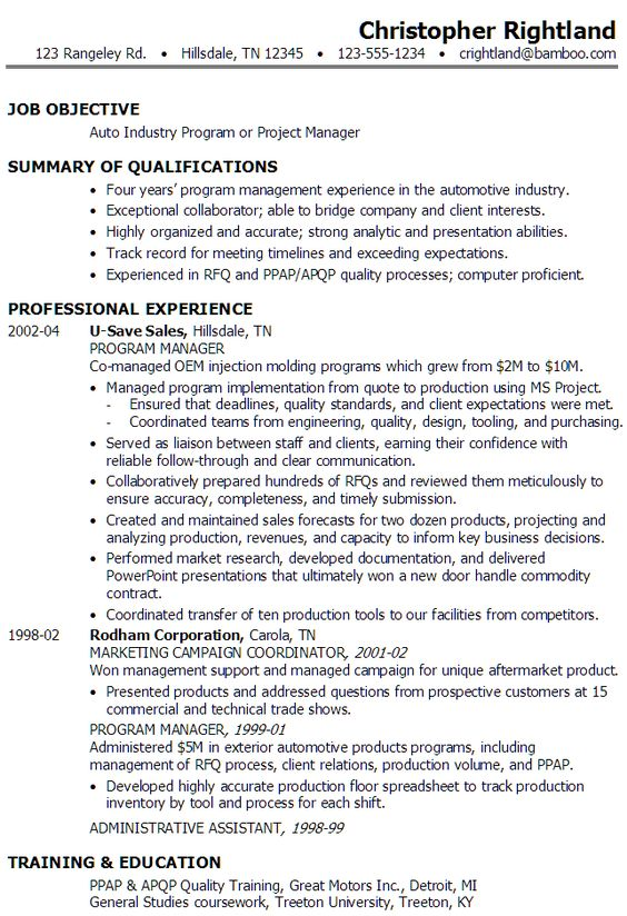 sample resume for someone seeking a job as a program manager or    sample resume for someone seeking a job as a program manager or project manager in the auto industry