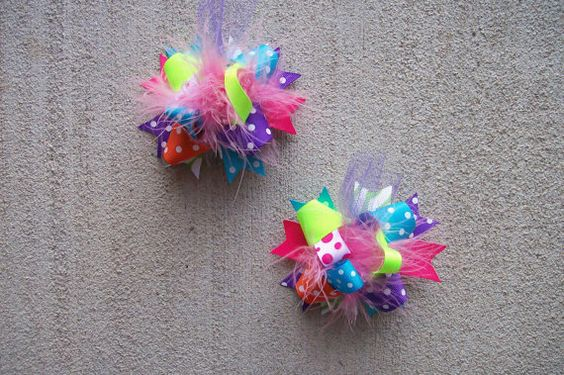 Hair Bows Set  2MINI Funky Fun Over the Top by bowdaciousbows417, $11.98