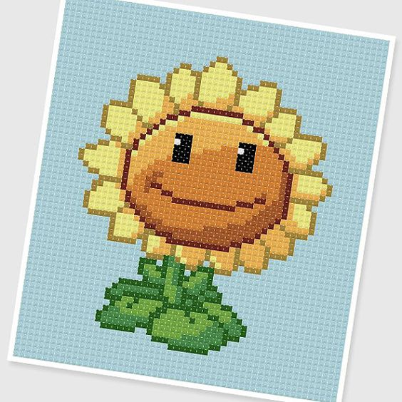 Pdf cross stitch pattern sunflower plants vs