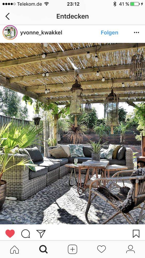 Unique pergola markise bambus berdachte Terrasse modern holz Sichtschutz Pinterest Pergolas Gardens and Garten