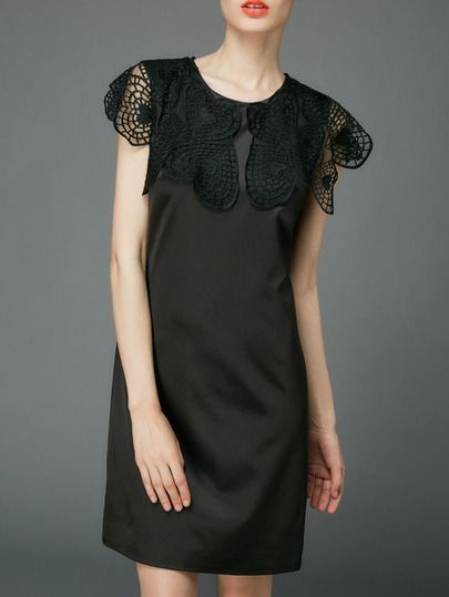 Black Crochet Hollow Out Shift Dress