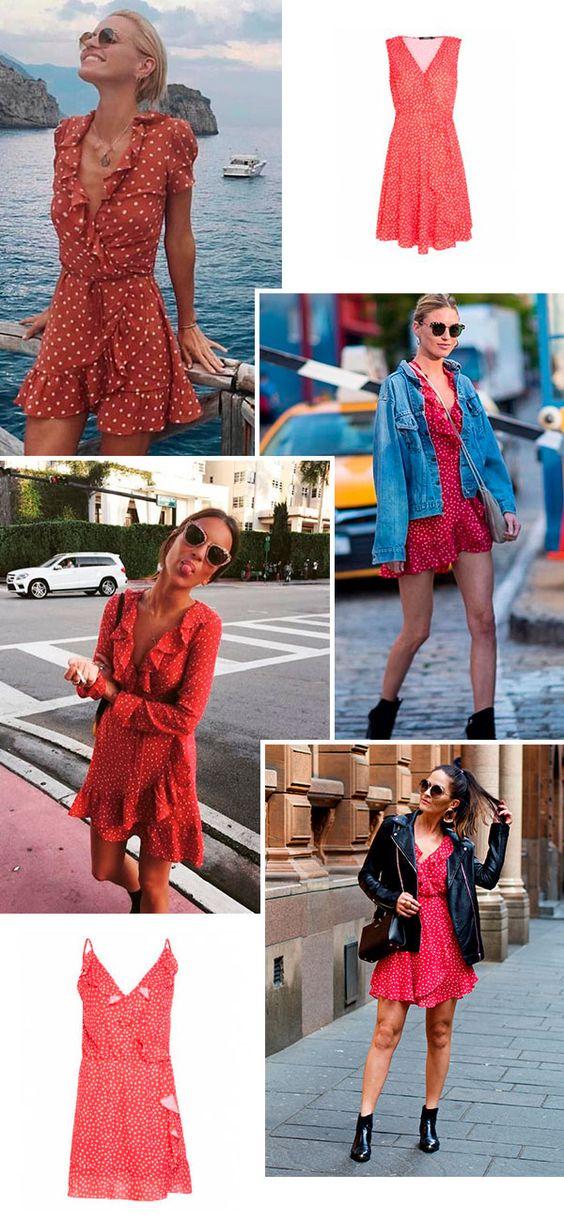 O vestido vermelho de poá é um novo queridinho entre as fashion girls. A inspiração french é reforçada com espadrilles e acessórios minimalistas, mas também vale ir para o lado mais cool com jaquetas jeans e complementos fashion.