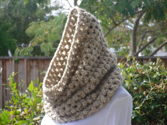 A personal favorite from my Etsy shop https://www.etsy.com/listing/113086692/hooded-cowl-neck-warmer-circle-snood
