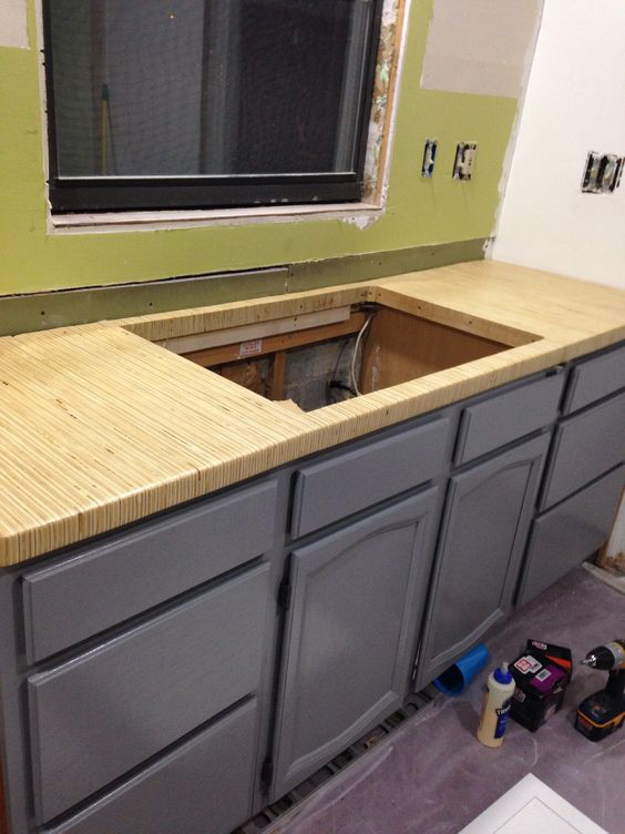 Diy Countertop 70 In Material Sheet Of Plywood Ripped To