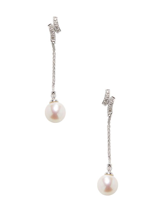 395 Diamond & Cultured Pearl Chain Drop Earrings