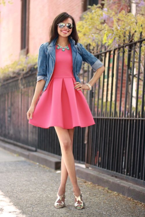 Pink dress jean jacket gold heels.  Outfits  Pinterest ...