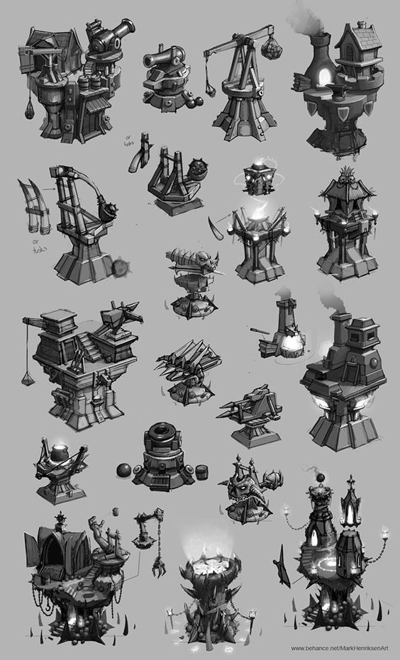 A selection of tower designs made for a game I worked on.