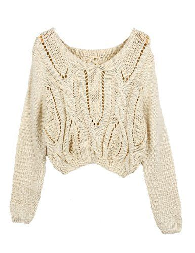 PrettyGuide Women Eyelet Cable Knit Lace Up Crop Long Sleeve Sweater Crop Tops Beige PrettyGuide,http://www.amazon.com/dp/B00GYVV8V4/ref=cm_sw_r_pi_dp_XVLVsb0E8TACW95S