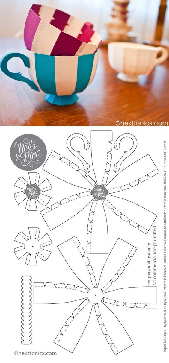 Free Printable 3D Tea Cup, these would be cute to hang at an Alice in wonderland party: