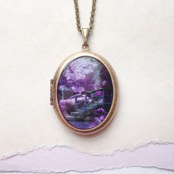 Purple Faerie Garden Locket  Secret Garden by Lothirielle on Etsy