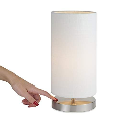 Kira Home Lucerna 13 Round Touch Bedside Led Table Lamp Energy Efficient Eco Friendly White Canvas Shade Led Table Lamp Touch Lamp Table Lamp