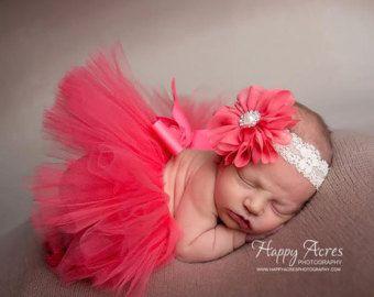 CORAL Newborn tutu and headband, newborn photography prop, baby tutu, vintage style tutu and headband
