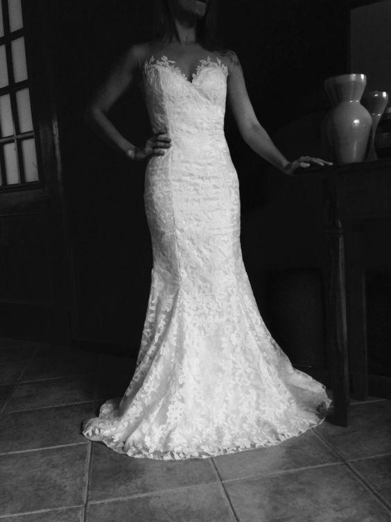 Vestido de Noiva Sereia e decote coração