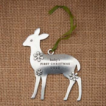 ENGRAVED DEER by Beehive Kitchenware - Baby's first ornament #baby #ornament #Christmas