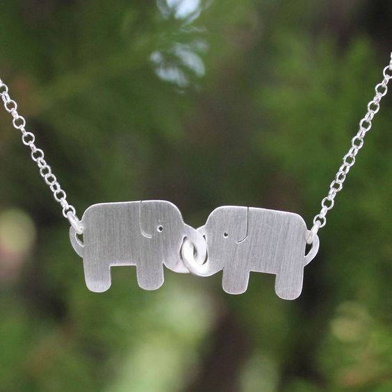 Novica Handcrafted Sterling Silver 'Elephant Friendship' Necklace