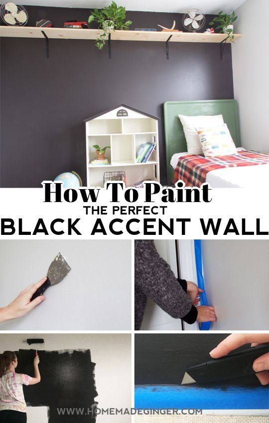 How To Paint The Perfect Black Accent Wall Homemade Ginger Black Accent Walls Accent Wall Accent Wall Paint