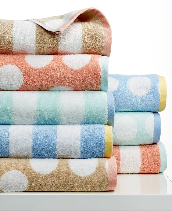 Martha stewart collection stripe jacquard and dot jacquard towel collection bath towels bed Martha stewart bathroom collection