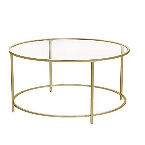 Vasagle Table Basse Ronde Plateau En Verre Trempe Armature Metallique Doree Table De Salon Bout De Canape R En 2020 Table De Salon Table Basse Ronde Idee Salle De Bain