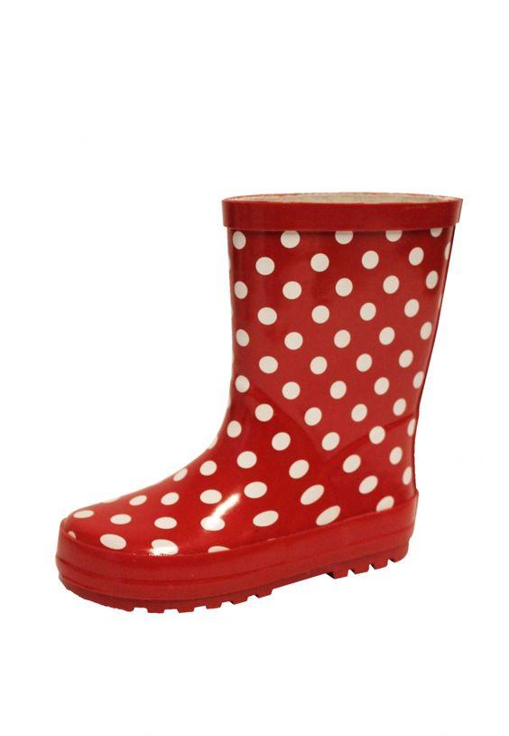 Kinder regenlaarzen Stip rood
