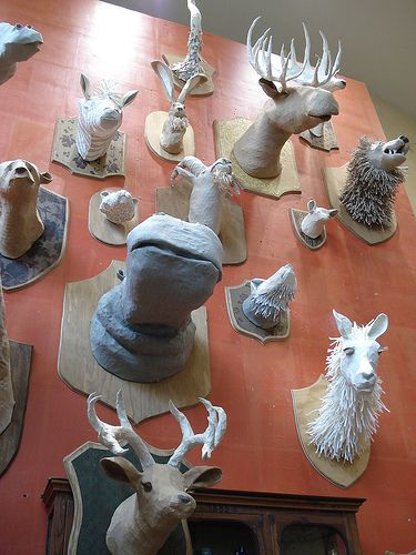 Cool paper mache animal heads at anthropologie faux for Cool paper mache