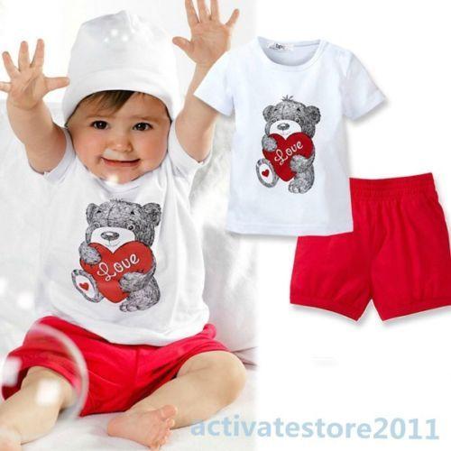 "New 2 Pcs Baby Kids Tops Pants Heart Bear Pattern Outfits Set Clothes 0 3 Year  **************************************** חולצה ומכנס לילדים עד גיל 3, איור של דוב ולב אדום. רק ב 25 ש""ח כולל משלוח חינם"