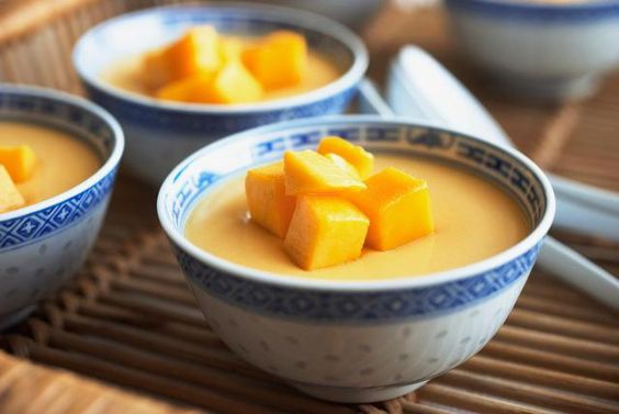 Mango Pudding. Ingredients: 2 medium to large ripe mangoes,  3 tsp gelatine, 1/2 cup hot water, 1/3 cup white sugar, 1 cup coconut milk/evaporated milk/milk