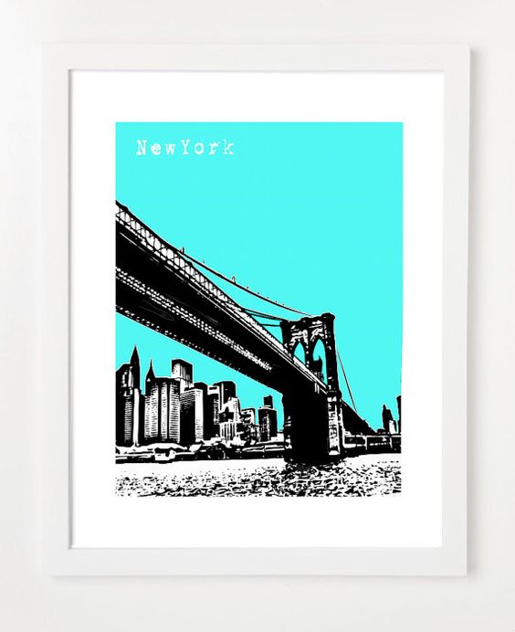 Brooklyn Bridge - Art City Skyline Poster - New York #etsy