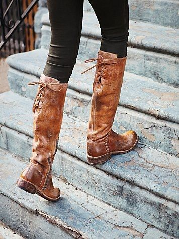 Women's Brown Manchester Leather Tall Boots | The back, Cognac ...
