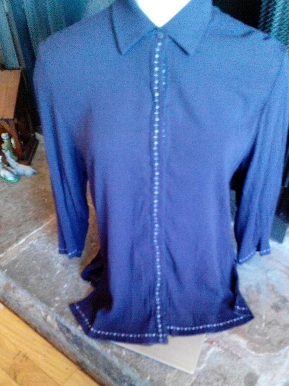 NWOT Women's  Norton Petites Studio PL with sequence down the shirt  RN # 57803 #NortonStudioShirt #blouse