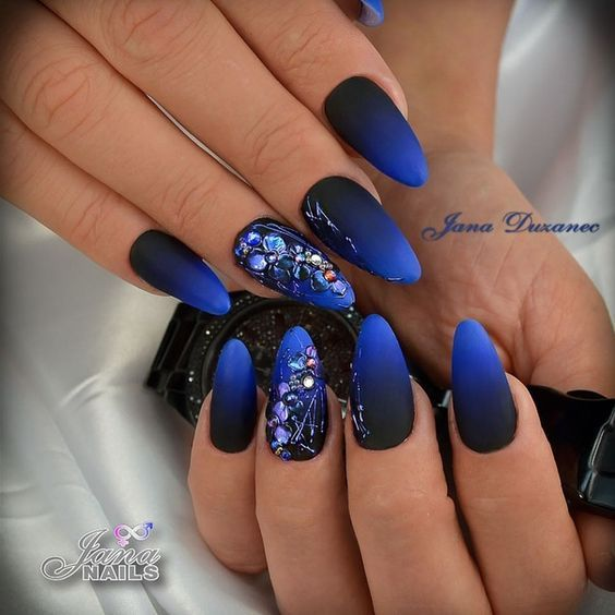 50 Gorgeous Ombre Matte Nail Designs You Will Love Matte Nails Design Blue Ombre Nails Black Ombre Nails
