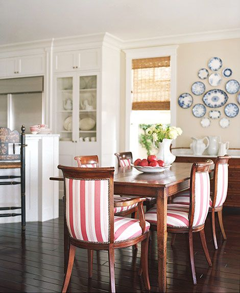 Patriotic decor ideas. White and red stripe dining chairs and blue plates on wall create a cheerful combo. #redwhiteblue #patriotic #decor #dining