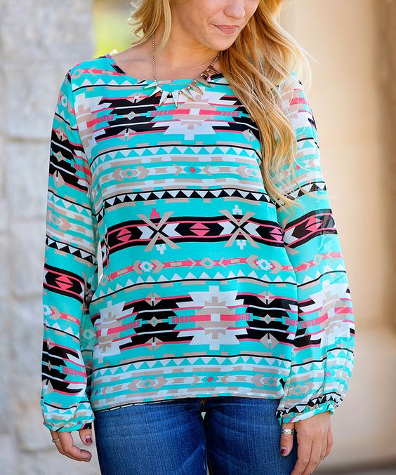 Loving this Mint Tribal Valencia Top on #zulily! #zulilyfinds