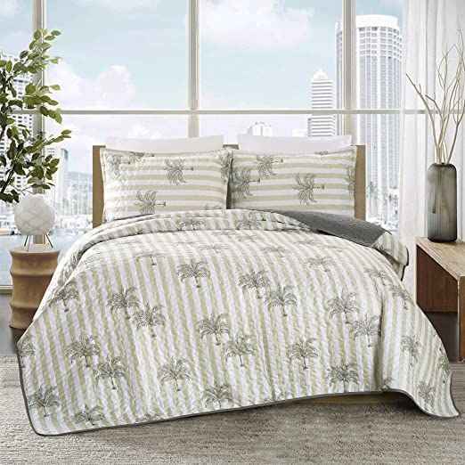 3 Piece Fine Tropical Print Oversize 118 Quot X 95 Quot Quilt Set Bedspread Coverlet Cal King Size In 2020 King Size Bed Covers Queen Size Bed Covers Bed Spreads