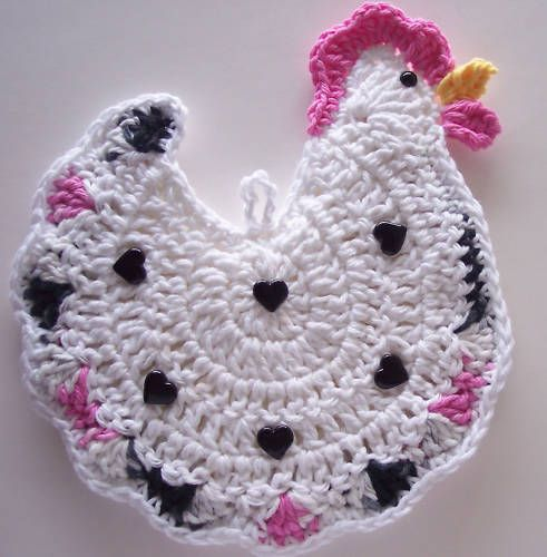 Crocheted Chicken / Rooster Potholder Made From Cotton