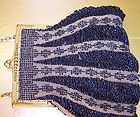 Antique Glass Beaded Purse Victorian Deco Handbag Fringe Navy Gold