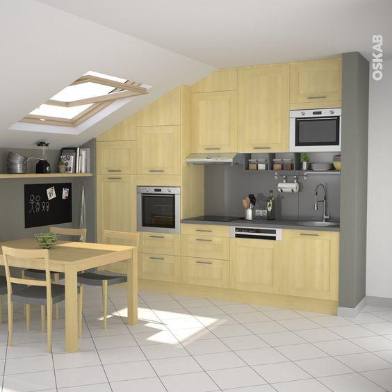 Cuisine en bois porte contemporaine betula bouleau - Table coulissante sous plan travail ...