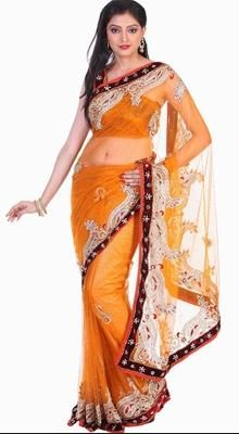 Exquisite Orange Embroidered Saree