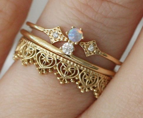 Stacked Wedding Rings Wedding Ring Set And Opals On Pinterest