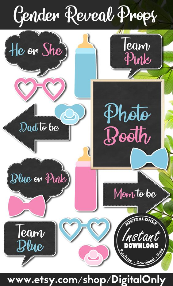 Gender Reveal Props Instant Download Gender Reveal Party Decoration Gender Reveal Ideas Photo Booth Sign And Props Pink Blue Props Gender Reveal Photos Gender Reveal Gender Reveal Party Decorations