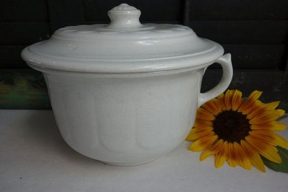 Antique Ironstone Chamber Pot with Lid Vintage by ironstonevintage, $48.00