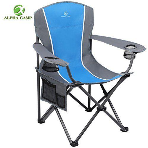 Alpha Camp Heavy Duty Folding Arm Chair Oversized Camping Chair